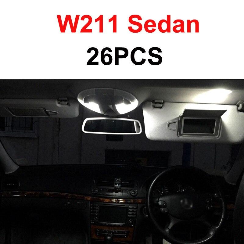 Белый светодиодный светильник без ошибок, Внутренняя купольная карта, комплект для Mercedes Benz E class W210 W211 W212 S210 S211 S212(1995 - Испускаемый цвет: W211 Sedan - 26PCS