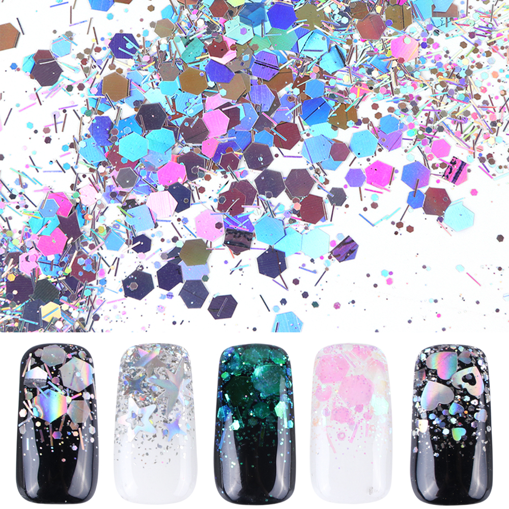 1 Bottle Mixed Laser Colorful Sequins Nail Glitter Thin Metal Hexagon Star Heart Flakes Nail art Manicure Decor LALH01-04