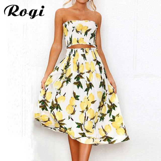 6c94d6f4fa Rogi Summer Women 2 Piece Set 2019 Sexy Sunflower Lemon Print Strapless  Women Sets Crop Top and Skirt Beach Outfits Maxi Dress
