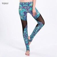 TCJULY New Design de Moda Mulheres Malha Leggings Impresso Colorido Dot Patchwork Calças de Cintura Alta Aptidão Push Up Leggings Ancorado