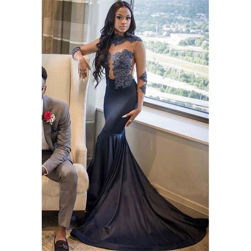 Aliexpress Com Buy Simple Elegant See Through Lace Part: Grey Long Mermaid Prom Dresses 2019 New Three Quarter See
