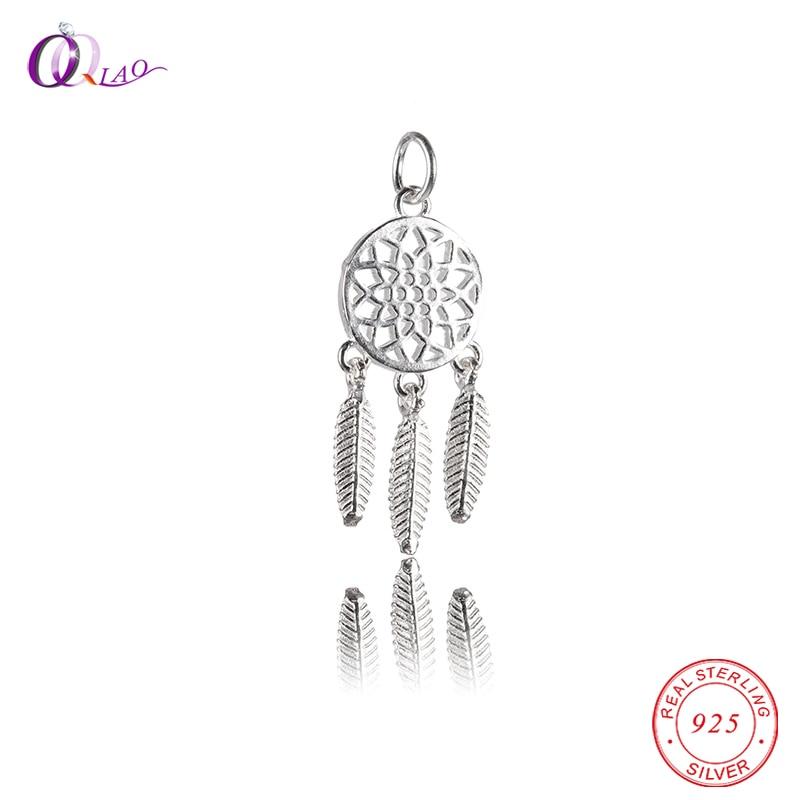 11.5x27mm Ciondolo dreamcatcher in argento sterling 925 Ciondolo etnico indiano per bracciale collana che fa bricolage, accessori gioielli