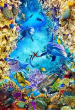 3D photo wallpaper 3d flooring underwater world wallpapers for living room self adhesive wallpaper(China)