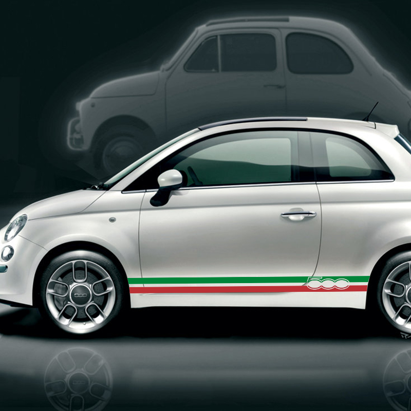 New 2 PCS Italian Flag Vinyl PVC Side Skirt Stripes Stickers Decal For Fiat 500 Abarth