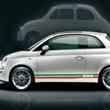 Nuovo 2 PCS Bandiera Italiana Del PVC Del Vinile Gonna Lato Strisce Autoadesivi Della Decalcomania Per Fiat 500 Abarth