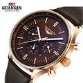 Роскошные Лучший Бренд GUANQIN Часы Мужчины Новая Мода мужская Большой Циферблат Дизайнер Кварцевые Часы Мужской Наручные Часы Классический Спорт Платье часы