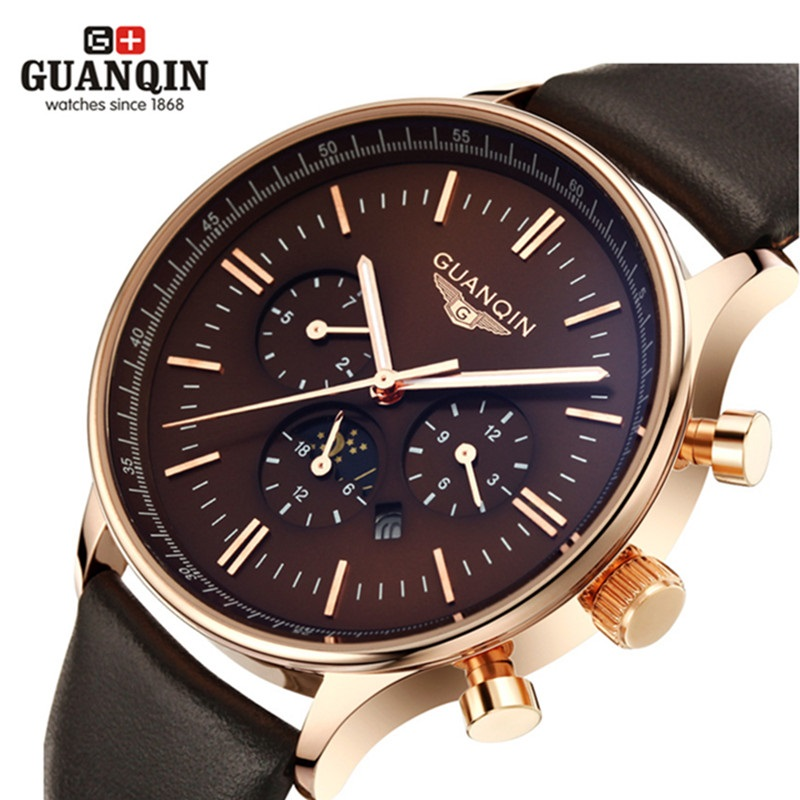 Luxury Top Brand GUANQIN Watches Men New Fashion Men's Big Dial Designer Quartz Watch Male Wristwatch Classic Sport Dress Watch 2016 new fashion watches men luxury top brand guanqin big dial full black sport quartz watch male wristwatch with stopwatch