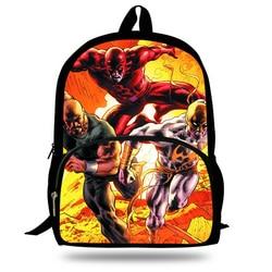 16-Cal popularne Daredevil Marvel drukowane dzieci torby szkolne plecak dla dzieci dziewcząt i chłopców Super Hero plecak
