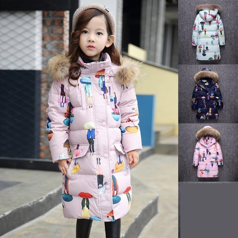 2017 Winter Russia Children Long Duck Down & Parkas Girls Down Jackets & Coats baby Winter Fur Collar Outwear -30 Degree 13 14 T fashion 2017 girl s down jackets winter russia baby coats thick duck warm jacket for girls boys children outerwears 30 degree