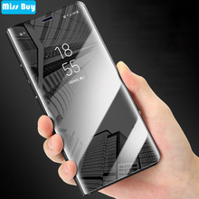 Clear View Smart Mirror Case For Samsung galaxy Note 9 8 5 4 3 J5 J7 2016 2017 J4 J6 Prime J8 A7 A9 A6 2018 Leather Flip Cover