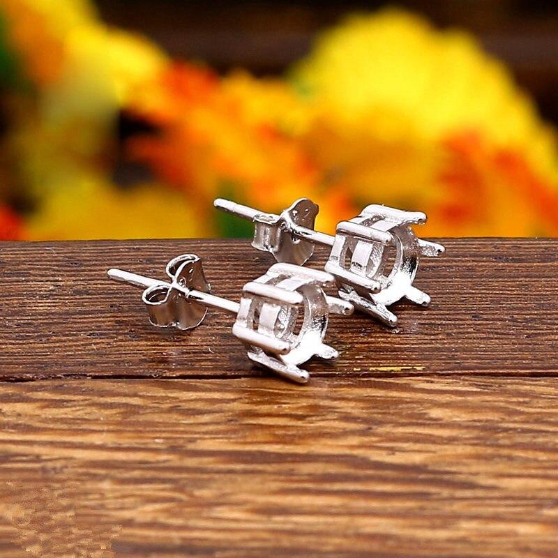 925 Sterling Silver Women Stud Earrings 5x5mm Round Cabochon Semi Mount Earrings for Amber Agate Opal