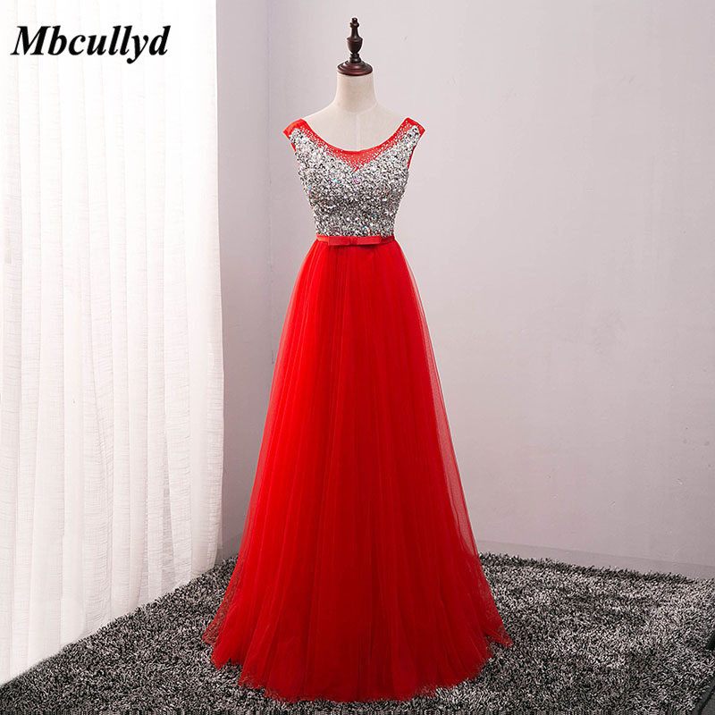 Long A-line Beach Bridesmaid Dresses 2019 Shining Beading Sequined Red  Wedding Party Gowns Cheap 334681e4562c