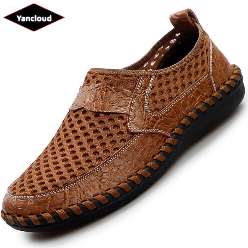 New 2018 Fashion Mens Shoes Leather Summer Split Leather Sandals Men Cutout Business San ...