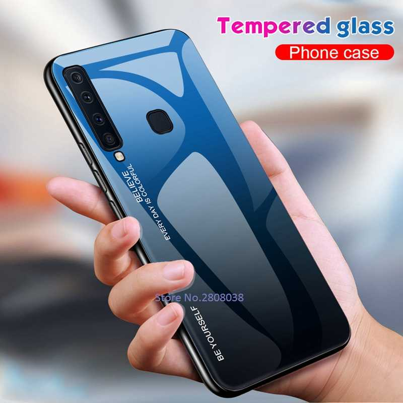 GerTong Tempered Glass Back Cover For Samsung Galaxy J4 J6 Plus J8 A9S A7 A6 A8 A9 2018 A5 2017 Soft Edge Silicone Coque Bumper