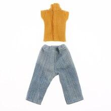 Милый полосатый свитер и джинсы в стиле пэчворк, повседневный костюм для 1/6 BJD, аксессуары для кукол