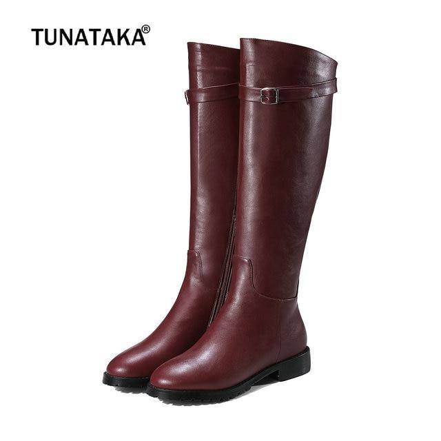 85eb41582e4c Winter Comfortable Flat Knee High Boots Women Faux Leather Low Heel Zipper Boots  Fur Warm Fashion Women Shoes Plus Size 43 2018