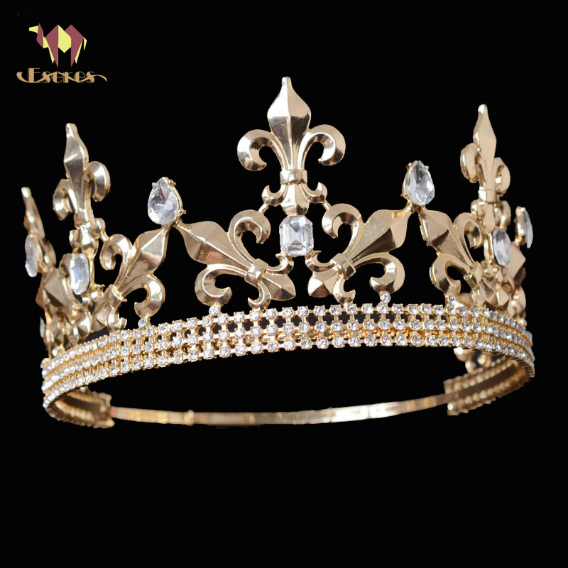 ESERES Vintage King Crown For Men Gold Big Size Adjustable Circle Royal King Tiara Wedding Hair Accessories vincent adjustable light grey fabric headboard for king cal king