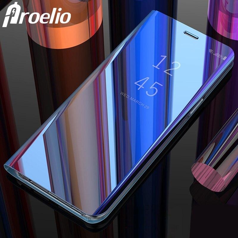 Proelio Flip Couverture En Cuir Cas Pour Samsung Galaxy S9 Plus S8 Note 9 Clear View Miroir Smart Case Pour Samsung note 8 S7 Bord