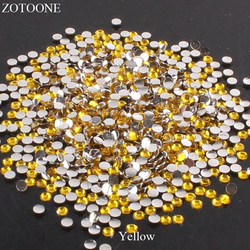 ZOTOONE 2-6 мм 1000 шт прозрачные Стразы AB без горячей фиксации плоские с оборота Стразы для ногтей для одежды ногти 3D дизайн ногтей украшения - Цвет: Yellow