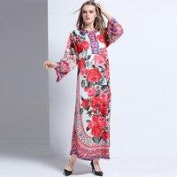 Luxury Ladies Dresses New Hot Sale Flare Sleeve Fashion Beautiful Print Loose Mid-Calf Topshop 2017 Autumn Winter Long Dress