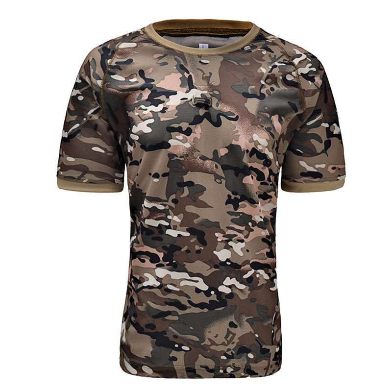 Outdoor Hunting Camouflage T-shirt Men Breathable Army Tactical Combat T Shirt Military Dry Sport Camo Camp Acu Green Tees