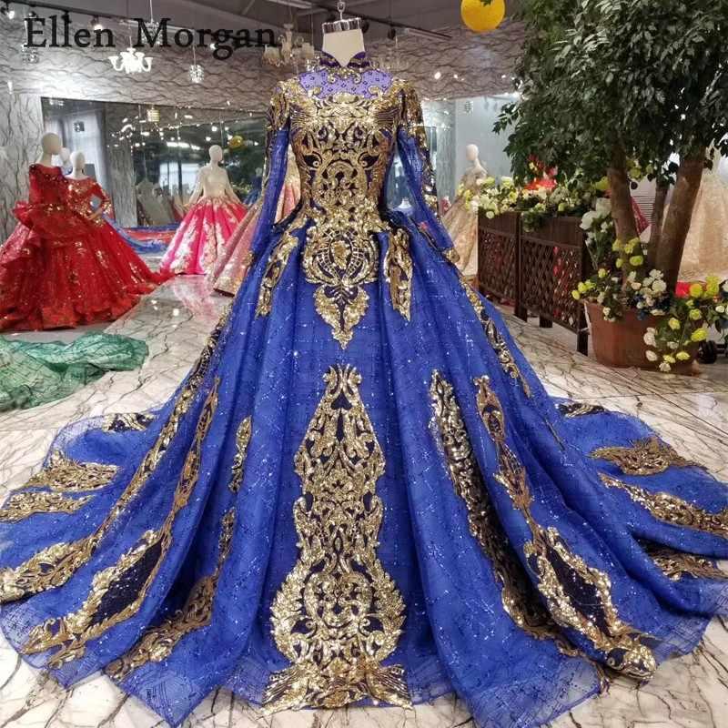 royal blue arabian royal wedding indian bridal dresses
