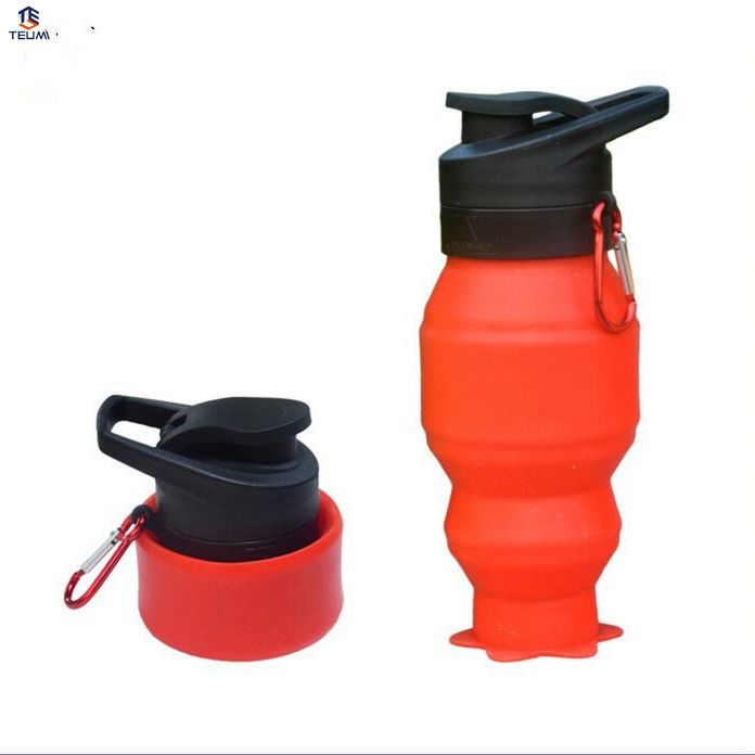 Water Bottles Sport Drinking Water Bottle 530ML -40 to 230 Degrees Silicone Foldable Water Bottle 4 Colors Bicycle Bottle.