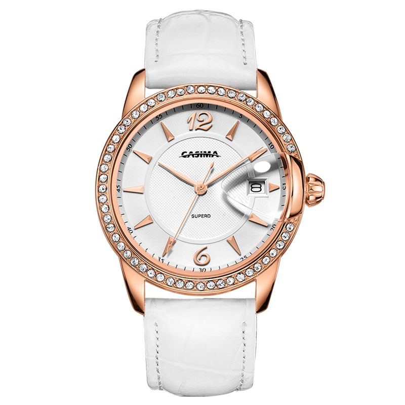 CASIMA fashion luxury brand women's watches with rose gold diamond dial white leather strap waterproof 2631 цена и фото