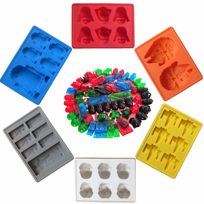 Звездные войны для льда силиконовая форма льда шоколада подноса кубика Звезда смерти с Дартом Вейдером из R2D2 Хан Соло Пустельга Шоколадные инструменты