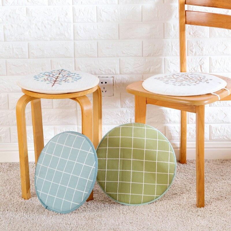 Round Plaid Seat Chair Cushion Pads Home Office Decor Diameter 32.5cm Foam Sponge Pad Living Room Soft Mat Protector Kitchen New