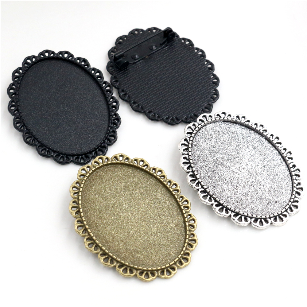 New Fashion 5pcs 30x40mm Inner Size Antique Silver Plated Bronze And Black Pin Brooch Baroque Style Base Setting Pendant Tray