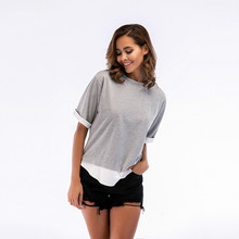 Stitching round neck female t-shirt short-sleeved womens 2019 shirt summer large size clothing N30D