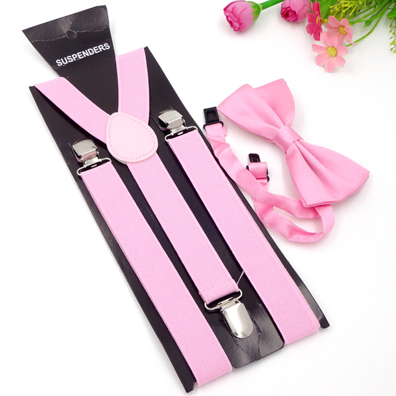 High Quality Adult 3 Clip-on Y Back Elastic Suspenders Bowties Set Suspender Braces Neck Ties Brace Belt Strap For Mens
