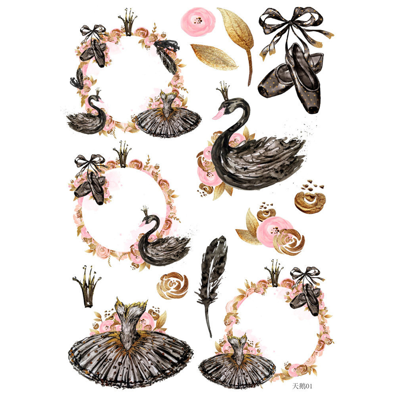 Retro Ballet And Swan Notebook Stickers Decorations DIY Manual Stickers School Office Teaching Stationery Scrapbooking Gift TZ41