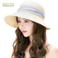 SIGGI Kadın disket yaz hasır güneş şapka katlanabilir cloche panama geniş ağız plaj moda 69055