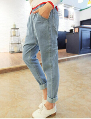 New arrival fashion boyfriend jeans for women casual elastic waist white retro washing jeans denim harem pants plus size women jeans autumn new fashion high waisted boyfriend street style roll up bottom casual denim long pants sp2096