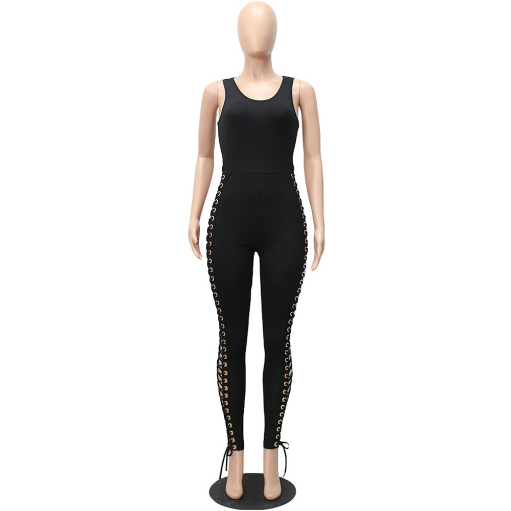 Sexy Split Sides Criss Bodycon Black Jumpsuit Summer 2017 Long Bodysuit Women Rompers Solid Tank Hollow Out Club Wear Jumpsuits