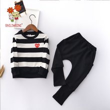 BAILIWEIN2019 spring new trend boys and girls striped casual suit long-sleeved trousers sports sweater sweater two sets