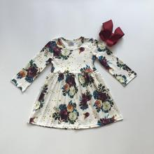 kids baby girls dress floral long sleeve ruffles