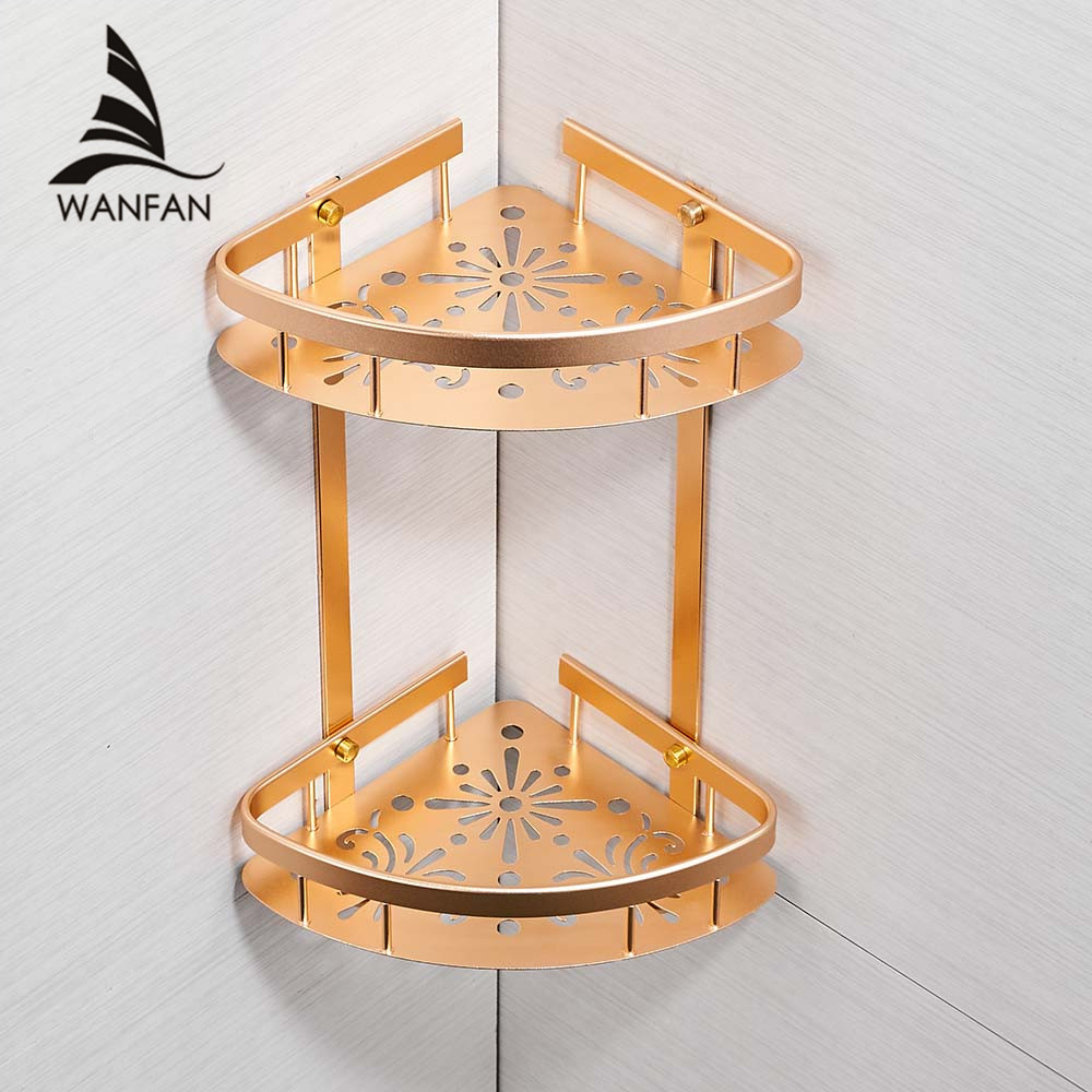 Bathroom Shelves Two Layer Aluminum Wall Rack With Hooks Shampoo Shower Cosmetic Basket Home Accessories Bath Shelf 811016Bathroom Shelves Two Layer Aluminum Wall Rack With Hooks Shampoo Shower Cosmetic Basket Home Accessories Bath Shelf 811016