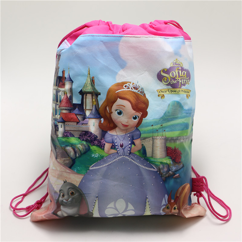 1PCS Non Woven Fabric Drawstring Backpacks Sofia Princess Birthday Return Gifts Kids Girls Travel Bag Mochila Cartoon Backpack