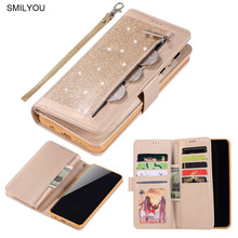 2019 Zipper Flip Cover For Samsung S10 Plus Case S9 S8 Note 8 9 PU Leather Glitter Wallet Book Phone Cases For Samsung S7 Edge