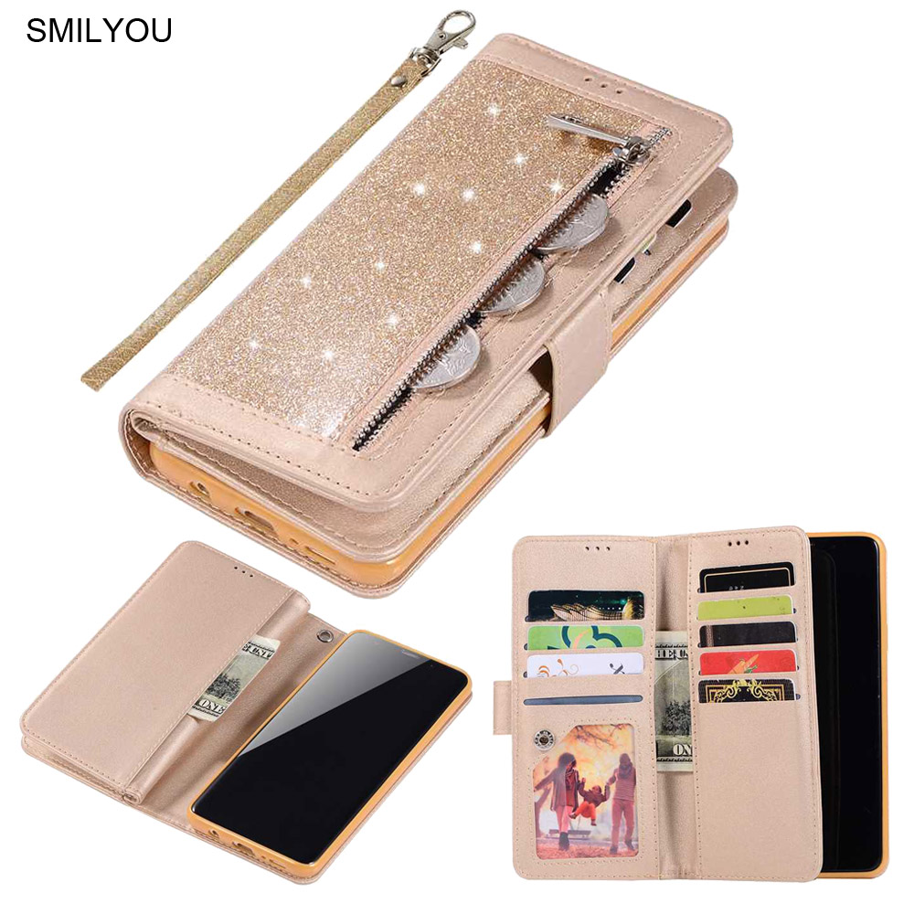 2019 Zipper <font><b>Flip</b></font> Cover For <font><b>Samsung</b></font> S10 Plus <font><b>Case</b></font> <font><b>S9</b></font> S8 Note 8 9 PU Leather Glitter Wallet Book Phone <font><b>Cases</b></font> For <font><b>Samsung</b></font> S7 Edge image