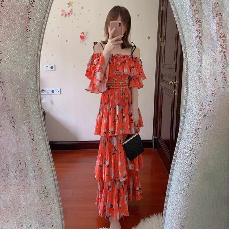 Лето, винтажное платье в стиле пэчворк с оборками, с принтом, красное платье для женщин, с вырезом лодочкой, на тонких бретельках, с высокой талией, драпированные миди платья