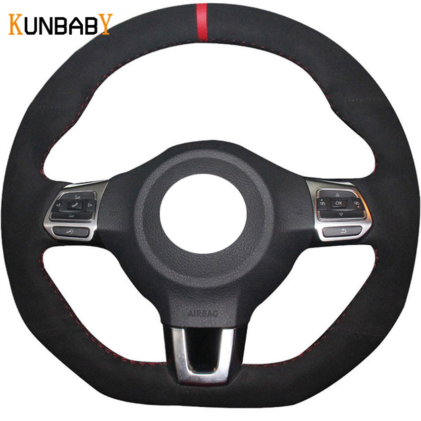 KUNBABY Black Suede Hand-stitched Car Steering Wheel Cover for Volkswagen Golf 6 GTI MK6 VW Polo GTI Scirocco R Passat CC R-Lin special hand stitched black leather steering wheel cover for vw golf 7 polo 2014 2015