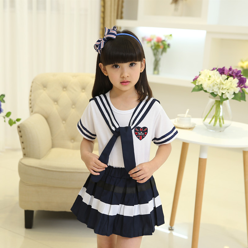Korean Japanese Primary School Girl Uniform Cosplay Costume Navy Color Skirt Shirt Set With Tie Summer Outfit