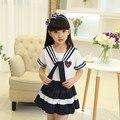 Venta caliente Coreano Japonés de La Escuela Primaria Chica Cosplay Uniforme Color Navy Falda Conjunto Camisa Con Corbata Traje de Verano