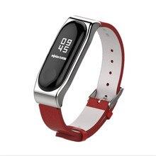 Mijobs Crazy Horse PU Strap For Xiaomi Mi Band 3 Smart Watch Screwless Bracelet mi band 3 Strap Miband 3 Strap Screwless Wrist