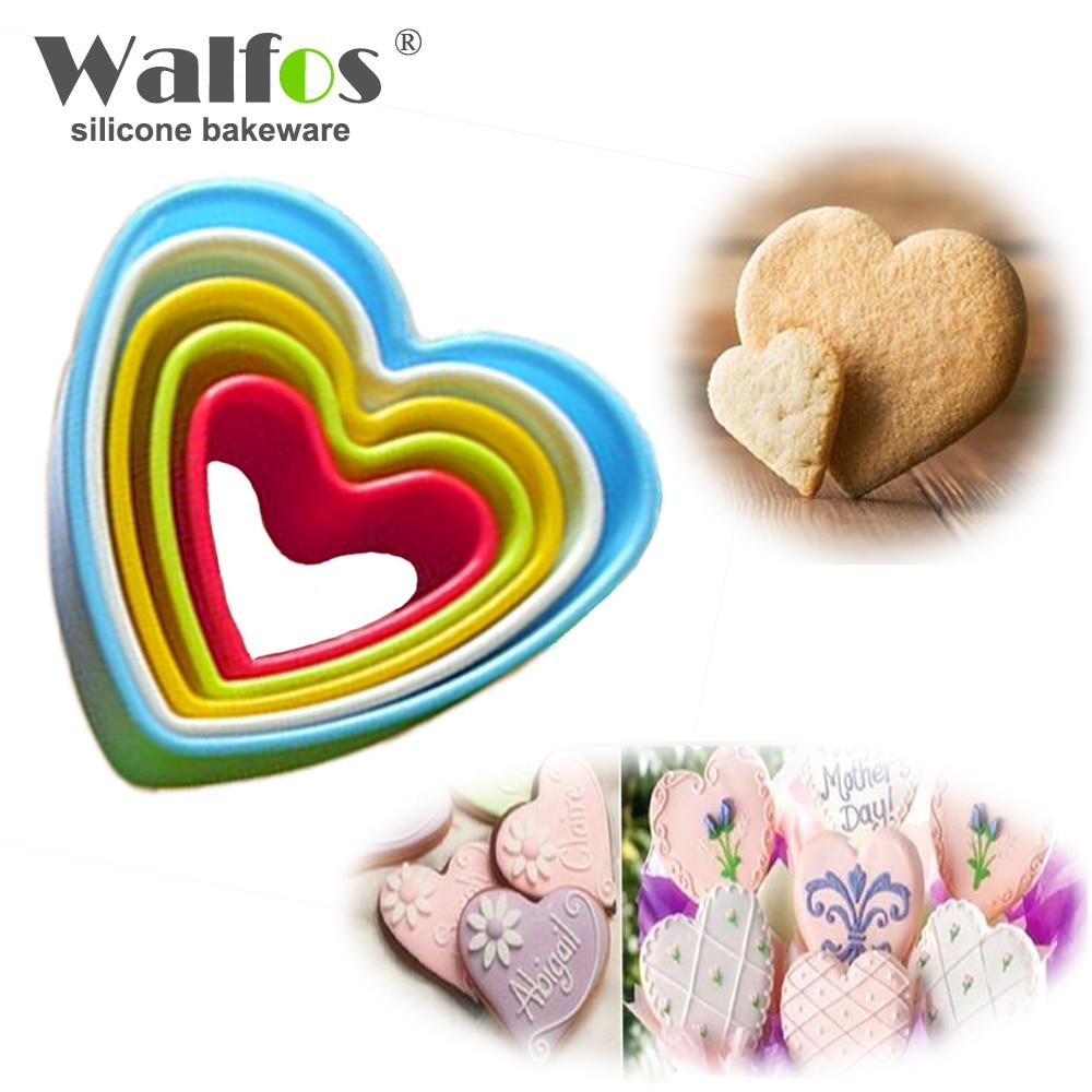 WALFOS Srdce ve tvaru plastu Dort forma cookie cutter sušenka razítko Sugar Craft dort dekorace