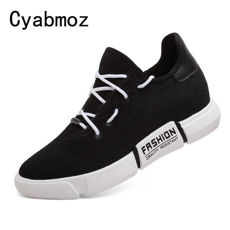 Hommes respirant Flyknit Mesh chaussures décontractées pour hommes mode baskets hauteur augmentant 6 cm chaussures plein air été chaussures confortables